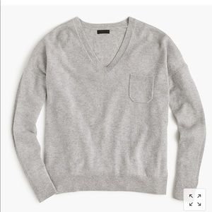 J. Crew Cashmere V-Neck Pocket Sweater in Black